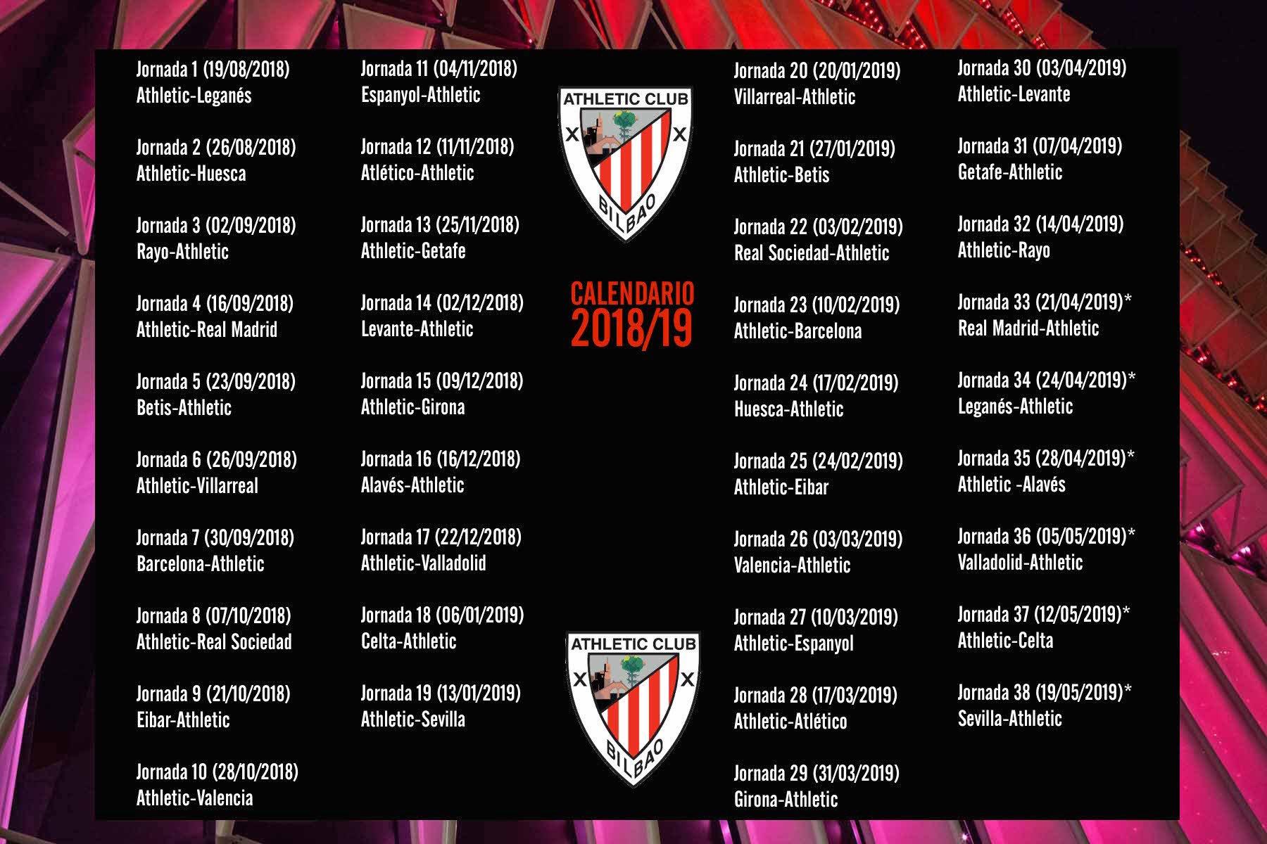 Athletic Bilbao Calendario.Calendario Liga 2018 19