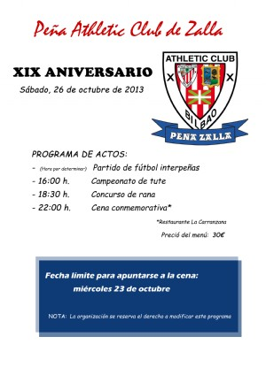 ad4703617a9a4 Actividades de las Peñas del Athletic Club de Bilbao